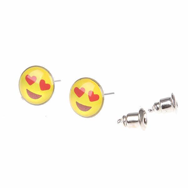 beb72b4b5 ... 36 pairs Round Yellow Happy Face Emoji Earrings Cute Funny Smiley Stud  Earrings For women Girl