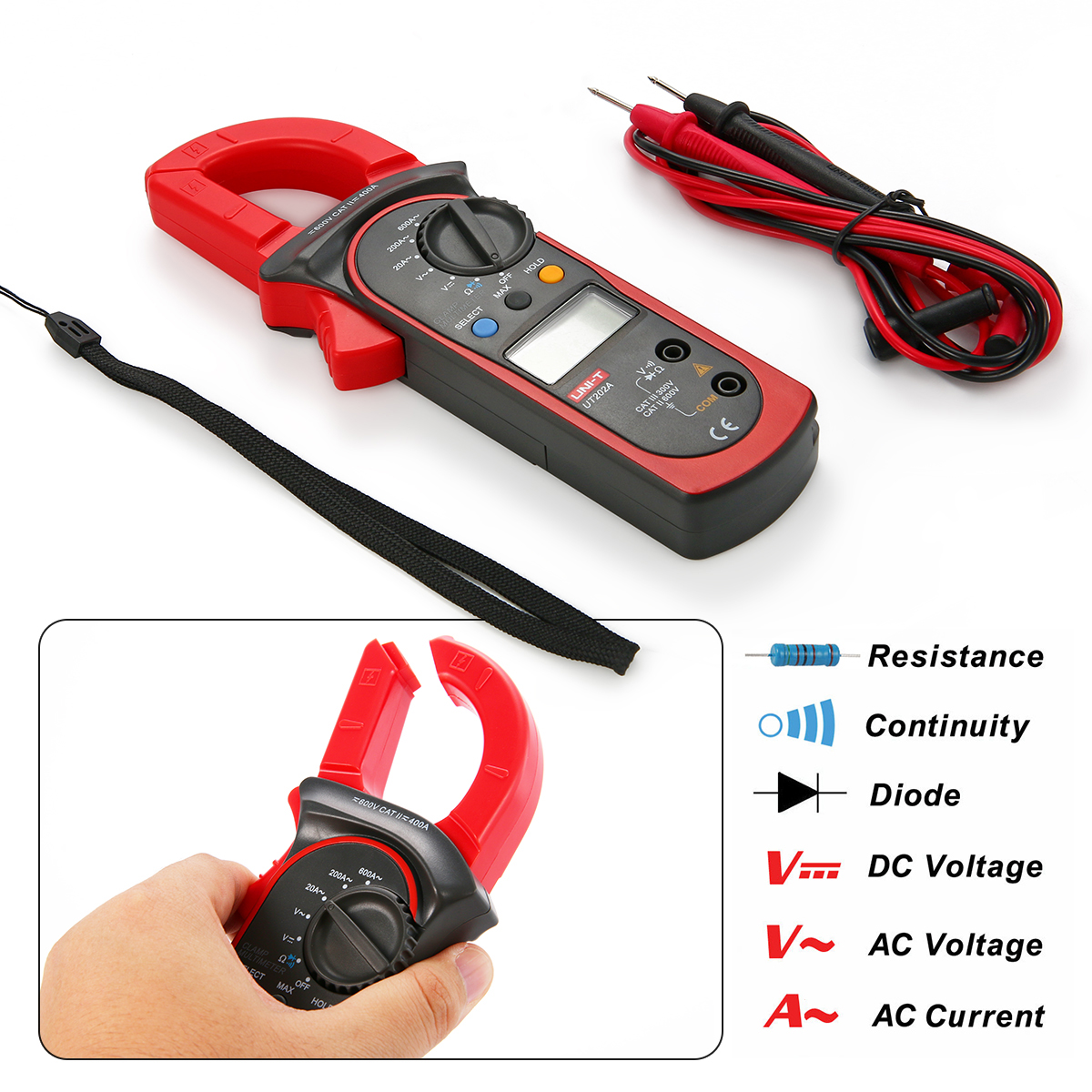 ФОТО UT202A DC/AC voltage current test electric current resistance Digital Clamp Meter LCD Digital Display Multimeter Handheld BI151