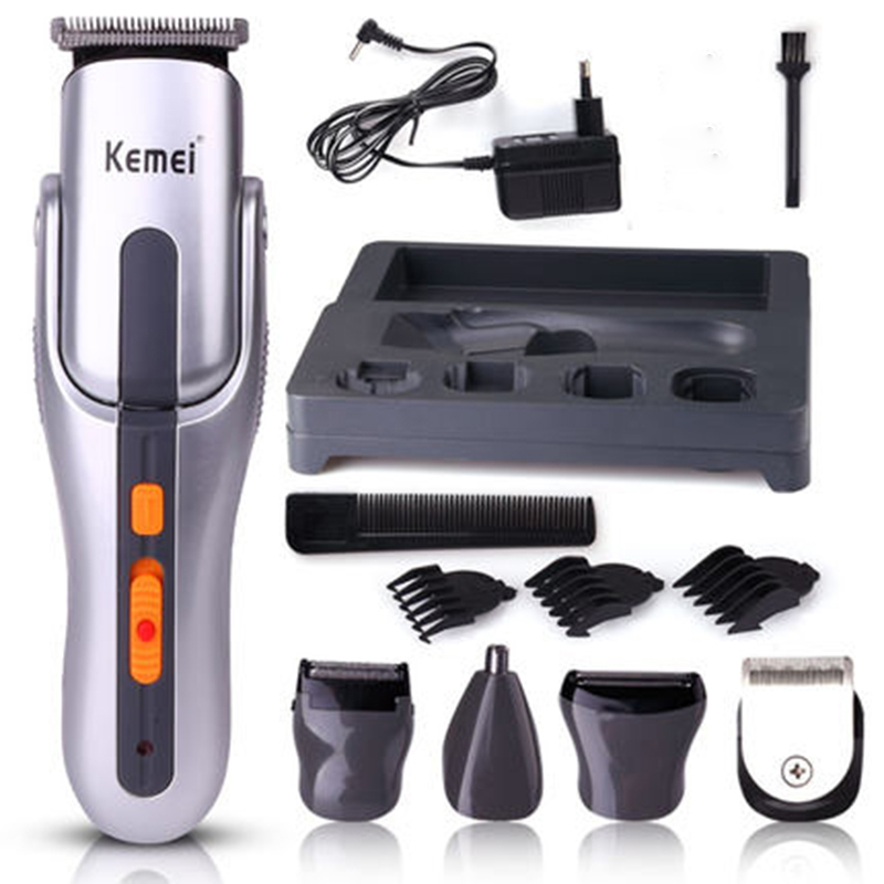Kemei Professional Hair Clipper 6 In 1 Hair Trimmer Set Electric Titanium Shaver Beard Nose Trimmer Hair Cutting Machine KM-680A yuho yh 638 15w electric pet hair clipper set for dogs black silver
