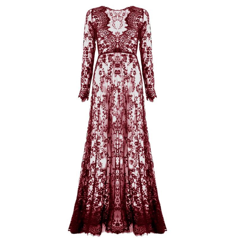 Сексуальные кружевные прозрачные платья летние v-образным вырезом женские в пол свободные с длинным рукавом платье регулировки талии цвето...