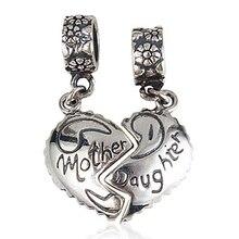 Nueva DIY madre y hija encantos Original 100% auténtico de la plata esterlina 925 cupieron para Pandora Charms pulseras y collares