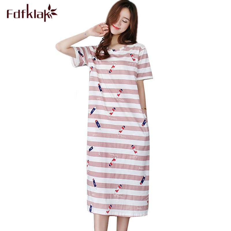 64904a320 Fdfklak pijamas de algodão de Verão plus size vestido de noite das mulheres  camisola de manga curta senhoras sleepwear camisola nightshirt M-3XL