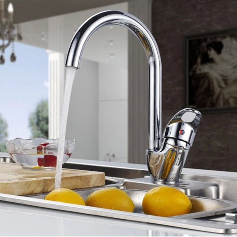 Free shipping deck mounted kitchen sink faucet with Solid brass kitchen faucet and zinc alloy kitchen
