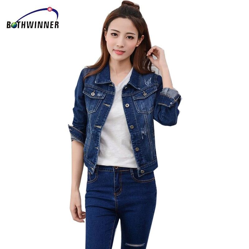 Bothwinner Fashion <font><b>Jeans</b></font> Jacket Women 2017 2XL Spring Hand Brush Long <font><b>Sleeve</b></font> Stretch Short Denim Jacket Coat White Black