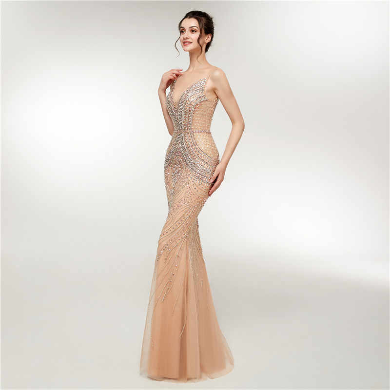 b59f0d68e892f ... Luxury Mermaid Evening Dresses Long 2018 New Heavy Crystals Beaded  Arabic Elegant Woman Formal Party Gowns ...