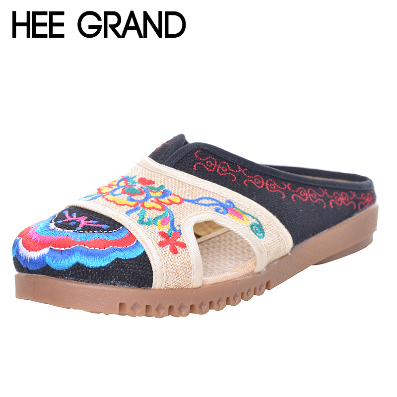 HEE GRAND Handmade Hemp Ethnic Women's Shoes 2017 Summer Embroidery Flat Heel Cut-outs Patchwork Slides XWD5134 a three dimensional embroidery of flowers trees and fruits chinese embroidery handmade art design book