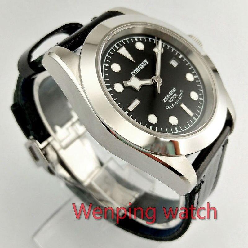 W2502 Corgeut 41mm Gepolijst Zwart serie Wijzerplaat Automatische Ontwerp Klok Leather Mechanische Horloges-in Mechanische Horloges van Horloges op  Groep 3