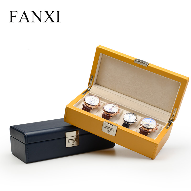 2018 New Watch Box 4 Grids PU Leather & Bead Velvet Watch Display / Storage Case Box Jewelry Watch Organizer cymii pu leather 10 slot jewelry storage holder wrist watch display box storage holder organizer case watch box gifts