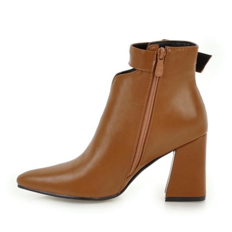 Negro Hebilla 34 Más marfil Sexy Botas Tobillo marrón Zapatos 1146 De Tacones Piel Caliente Mujer 43 Altos Tamaño Cuculus Toe Punta Invierno qf7HS7