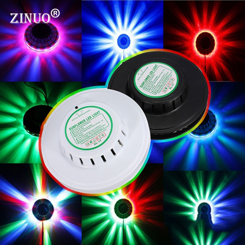 ZINUO Mini UFO LED RGB Stage Lamp Sunflower Rotating Effect RGB LED Stage Light for KTV Xmas Party Disco DJ Projector light