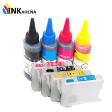 T0921 4 botella de tinta del tinte para epson stylus t26 t27 tx106 TX109 TX117 Impresoras + 4 UNIDS T0921N Cartucho De Tinta recargable Vacío kit