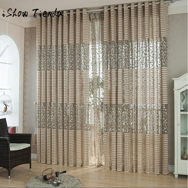 1pc Leaf Tulle Door Window Curtain Drape Panel Sheer Scarf Valances Home  Decor Curtains For Living