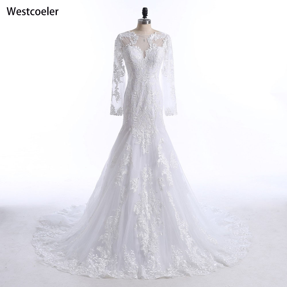 New 2018 Wedding Dress Sexy Mermaid Lace Appliques Bride