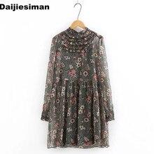 Vintage flor colorida estampado Floral pecho Cascading Ruffle manga larga Stand Collar plisado Mini vestido marca mujeres