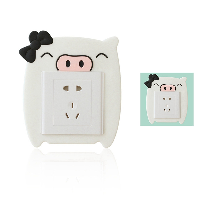 Cartoon Luminous Wall Power Socket Decorative Stickers Silicone Switch Cover