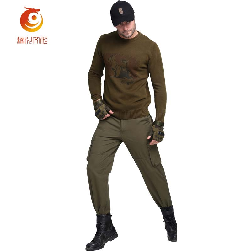 Brown Tshirts Cotton Men 's Long Sleeved T Shirts Casual Outwear Army Pullover Army Green T-Shirt Knitted o collar Tshirt 3XL grid hollow design t shirts in army green