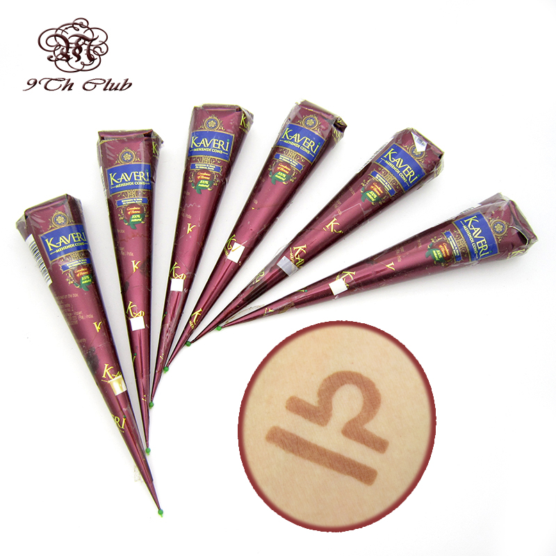 Henna Brands: 6pcs Natural Brown Indian Henna Tattoo Paste Cones,Mehndi