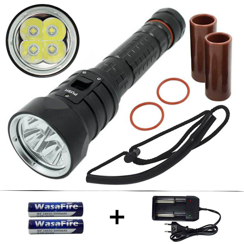 Powerful Diving Flashlight Torch XM-L2 LED Underwater Waterproof Dive Diver Light Lamp + 18650 Rechargeable Battery + Charger underwater diving headlight l2 led headlamp cree xm l2 waterproof dive lanterna underwater flashlight 18650 battery charger