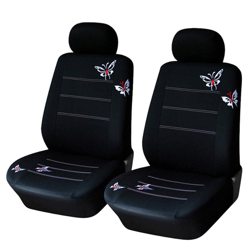 Butterfly Embroidered Car Seat Cover Universal Fit Most Vehicles Seats Interior Accessories Black Seat Covers
