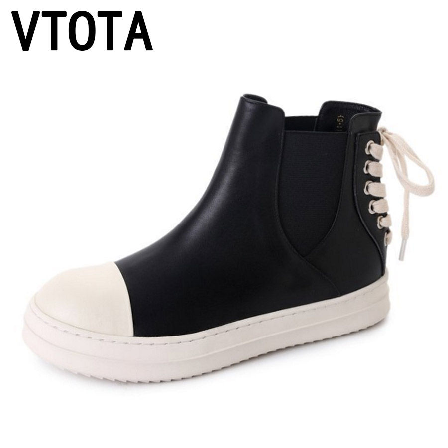 VTOTA Women Ankle Boots Student Flat Lace-up Casual Shoes Botas Mujer Shoes Female Tenis Feminino Autumn Shoes Woman Sneakers E7 botines mujer 2016 autumn spring women boots lace up print motorcycle ankle boot ladies flat shoes woman botas mujer xwx3362