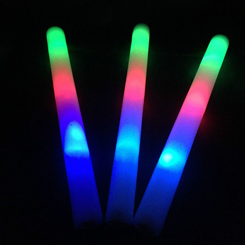 15Pcs/Lot Coloful Foam Stick LED Fluorescent Glow Rally Rave Cheer Tube Soft Glow Baton Wands For Party Festival Light Sticks