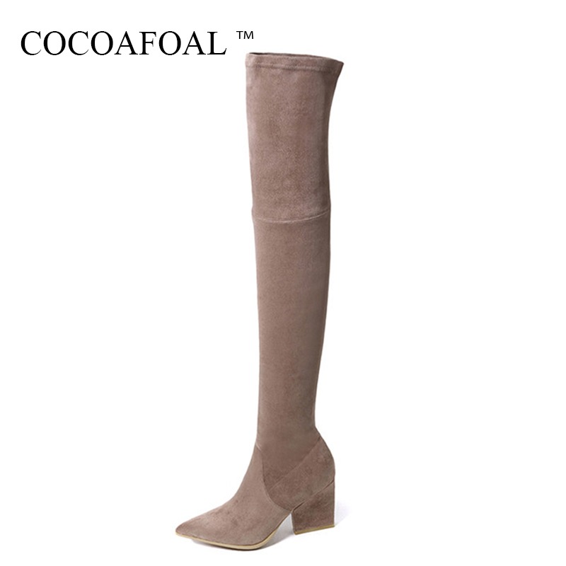 COCOAFOAL Fashion Women High Heeled Shoes Plus Size Genuine Leather Over The Knee Boots Winter Black Chelsea Thigh High Boots cocoafoal women sexy black high heeled shoes genuine leather thigh high boots plus size 33 41 winter chelsea over the knee boots