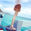 2016 verão multi-camada de tecido de camurça borla casuais mulheres pu shorts de couro culottes feminino quente resort de praia