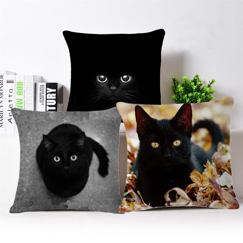 2018 Cute Cat Printed Pattern Anime Pillowcase Cat Pillow Case Black and White Cushions  ...