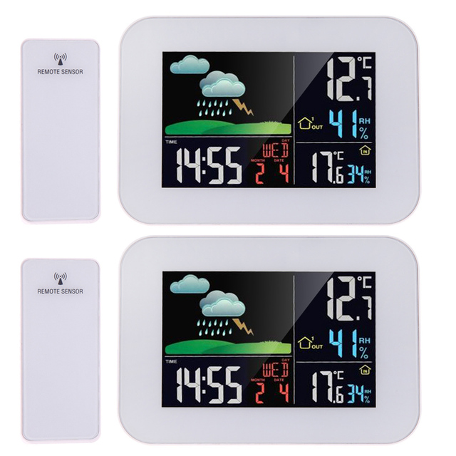 Lcd Color Display Wireless Thermometer Hygrometer Weather Station Forecast Temperature Humidity Tester Clock Alarm Snooze
