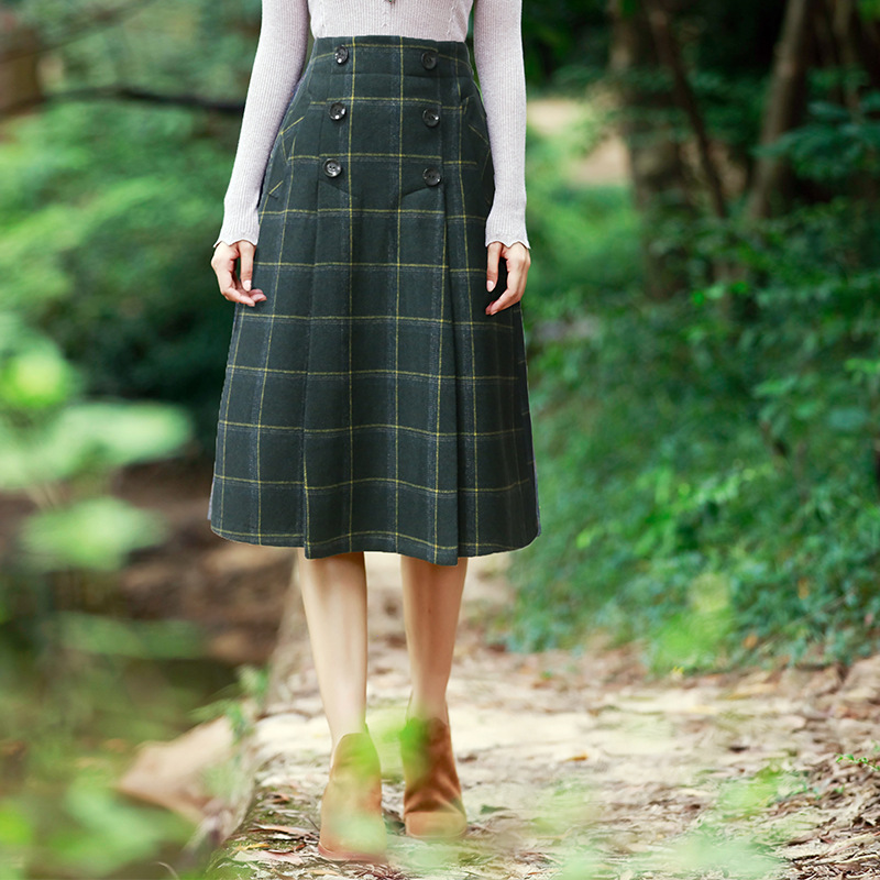 Autumn and winter new retro high waist slim large swing wool font b plaid b font