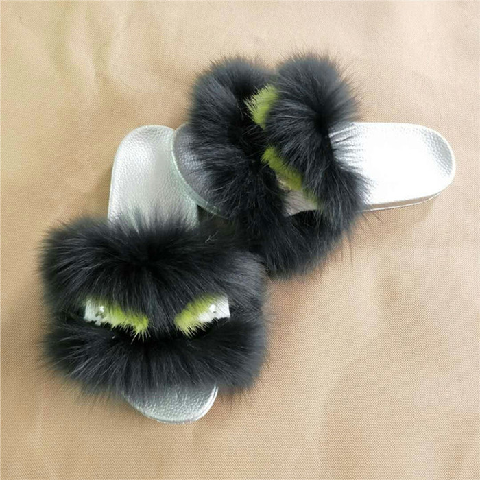 Real Fox Fur Slippers Women Fur Home Fluffy Summer Shose / Fur Shose