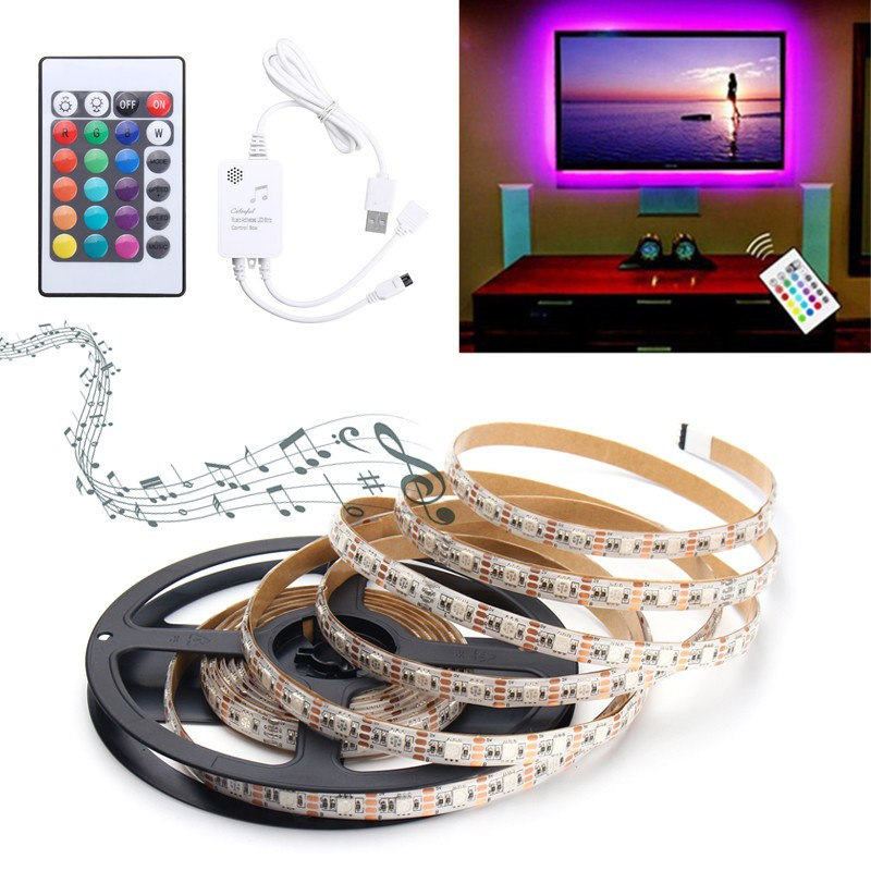 0.5/1/1.5/2/3/4M Non Waterproof Music Sound Activated RGB LED Strip Light 5050smd Strip Kit RGB With 5V USB IR Controller Party 4pcs sound activated rgb led strip with car charger remote control