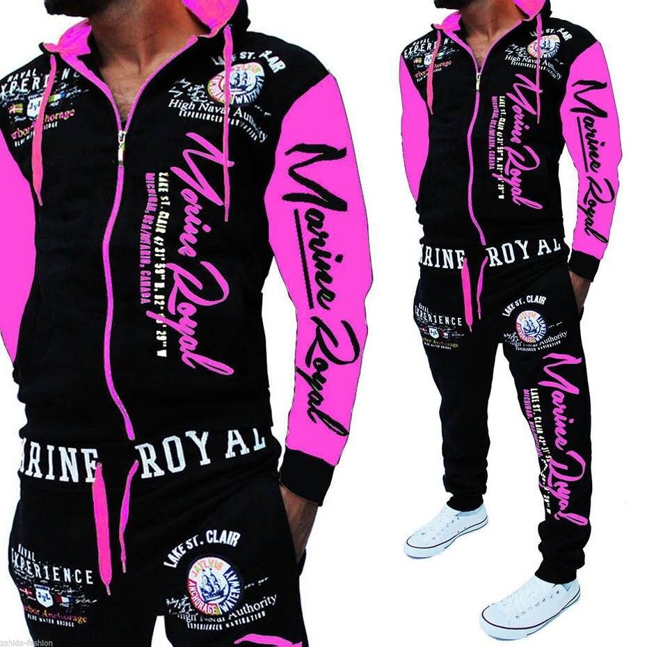Zogga 2018 Degli Uomini della Tuta set Autunno Abbigliamento Sportivo di Modo Mens Set di 2 pz Cerniera Felpa Con Cappuccio Giacca e Pantalone Multi Colore