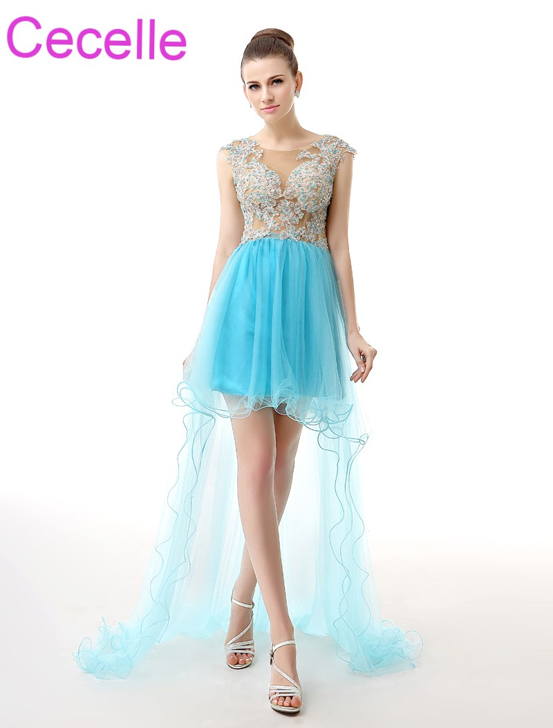 Blue Tulle Short   Cocktail     Dresses   2019 Sleeveless High Low Beaded Lace Open Back Teens Semi-formal Prom   Cocktail     Dresses   Sale