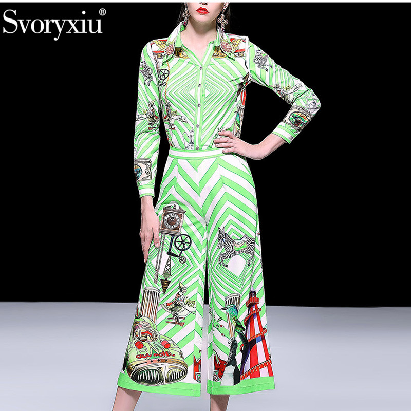 Svoryxiu Spring Summer Runway Casual Pants Set Women's Long Sleeve Beading Printed Blouse + Wide Leg Pants Two Piece Set