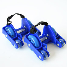 Children Gifts Sports 4 Wheels Pulley Lighted Flashing LED Wheels Heel Skate Rollers Skates Shoe Flashing Roller Skate Shoes