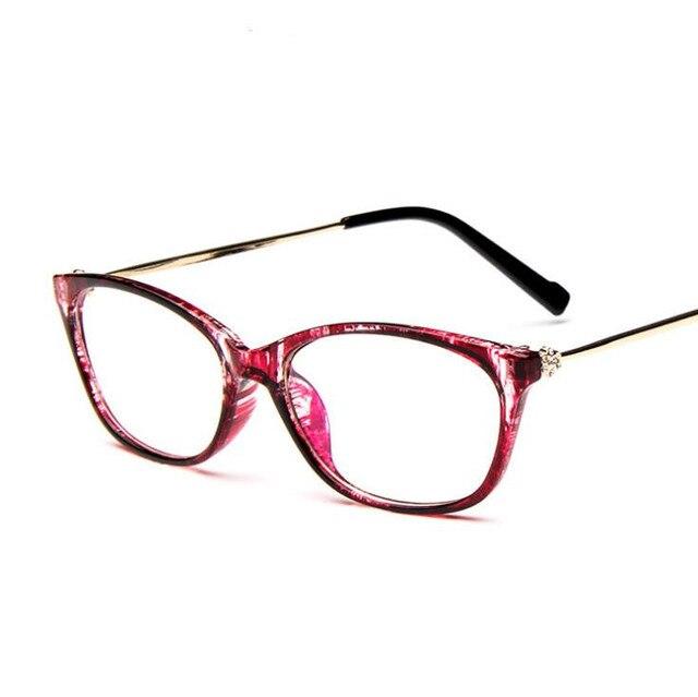 aef2ad5396e Vintage Diamond Decoration Fashion Glasses Frame Women Cat Eye Eyeglasses  Clear Lens Eyewear Metal Prescription oculos de grau