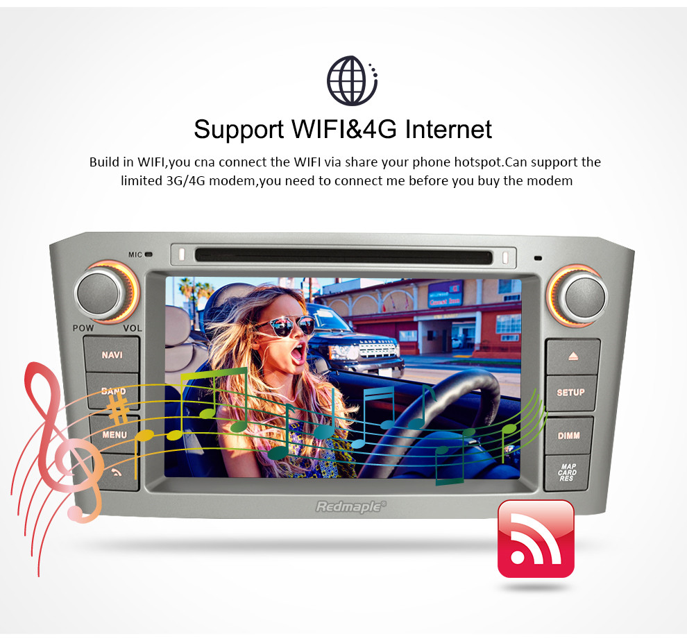 Image 4 - 7'' IPS 4G RAM Android 8.0 Car DVD GPS Navigation Player For Toyota Avensis/T25 2003 2008 WIFI FM Video Radio Stereo Multimedia-in Car Multimedia Player from Automobiles & Motorcycles