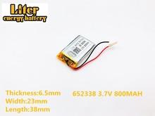 3.7 v 800 mah 612338 bateria de Polímero De li casa inteligente MP3 alto-falantes para dvr GPS mp4 celular falar brinquedos LJ 652338 AdvoCam-FD7 Profi