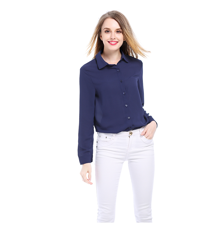 Women's Classic Shirt Chiffon Blouse Loose Long Sleeve Casual Shirts Lady Simple Style Tops 23