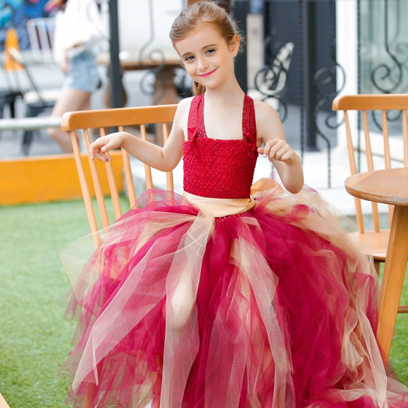 2018 Top quality European style Flower Children Girl Dresses Claret mix gold Bow 2-12Y Trailing Draped Ball Gown Lace BaBy Party