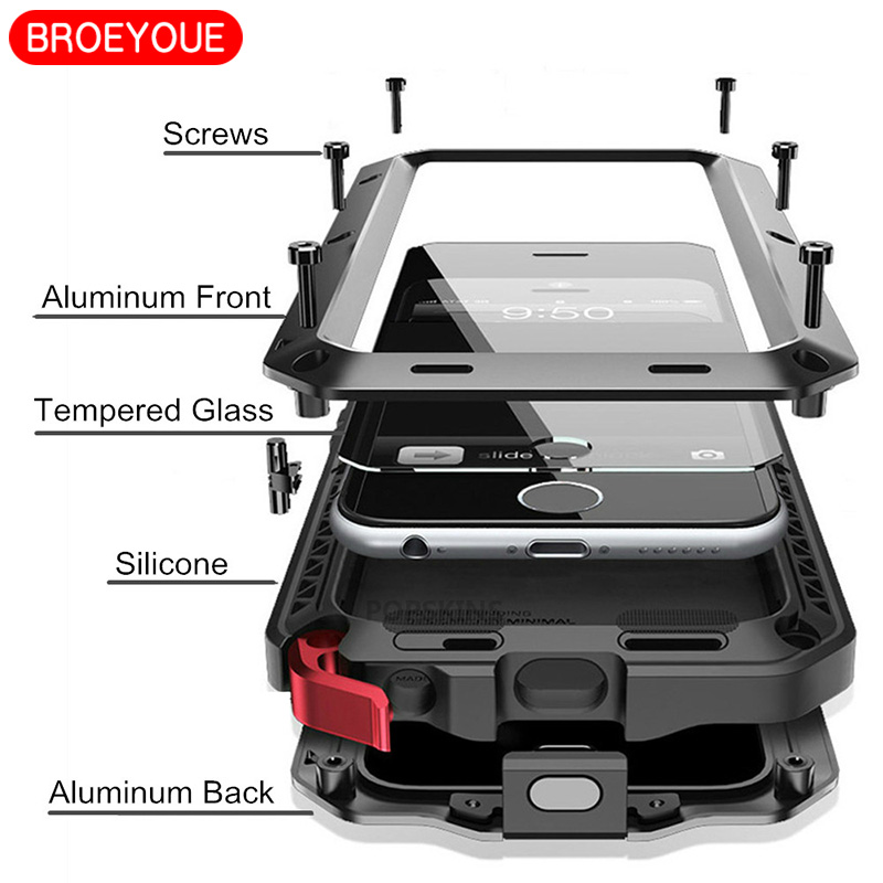 BROEYOUE Case For Samsung Galaxy Note 8 5 4 3 S4 S5 S6 S7 S8 Note Edge Plus Heavy Duty Cover For iPhone 5 5S 6 6S 7 8 Plus X