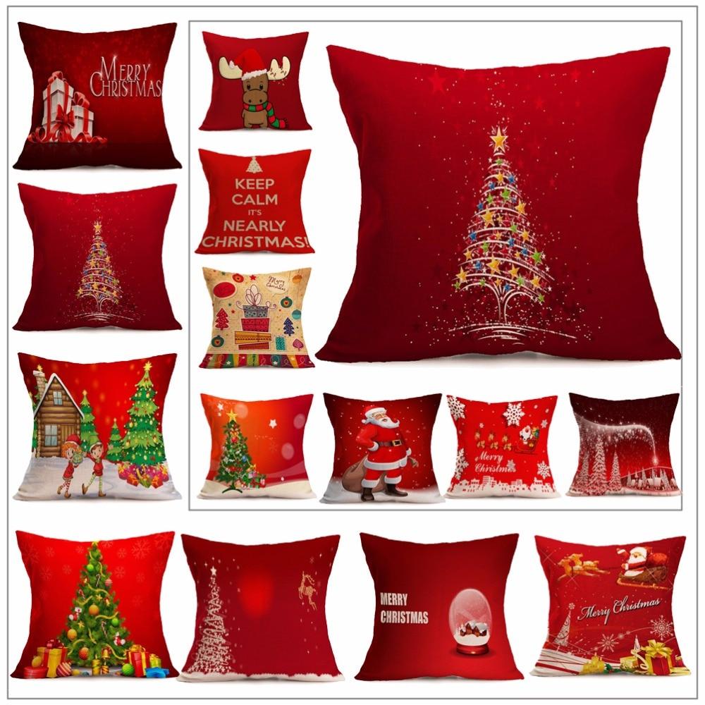 Vvsoo новый год 45*45 см рождественские украшения для дома Xmas наволочка Дерево Санта Клаус льняная красная наволочка