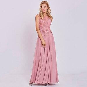 Image 4 - Dressv peach long evening dress cheap scoop sleeveless a line zipper up wedding party formal dress appliques evening dresses