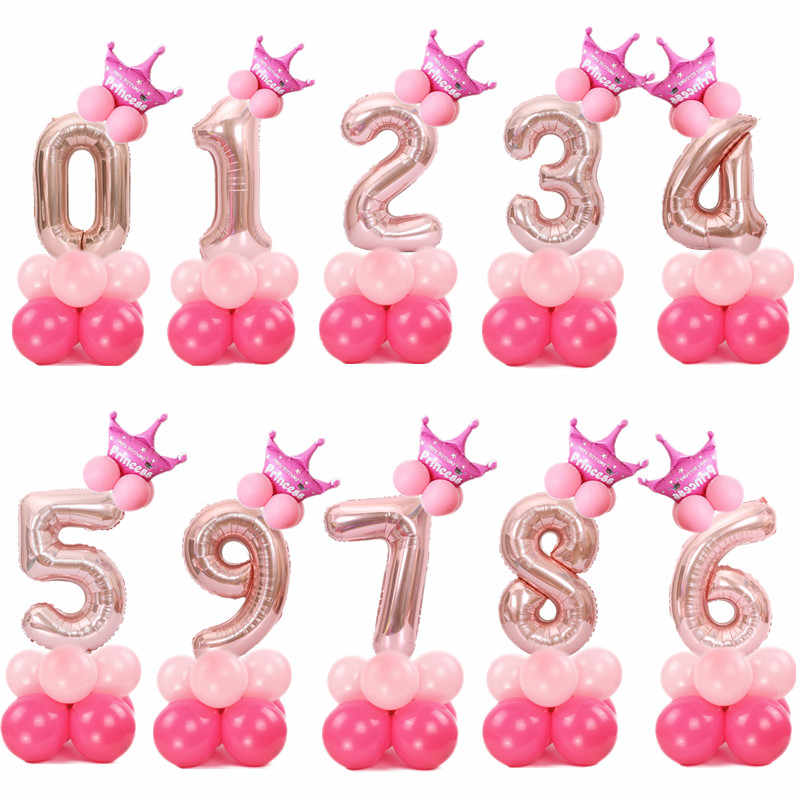 17pcs/set 32inch Rose Gold Number Foil Balloons Wedding Air Ballon Helium Balloon Happy Birthday Party Decoration Supplies Balon