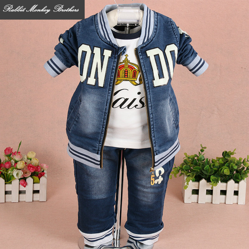 Rabbit Monkey Brothers baby boy clothes spring and autumn Boys Denim three piece set letters baby suit Clothes for boys babies платья eva платье