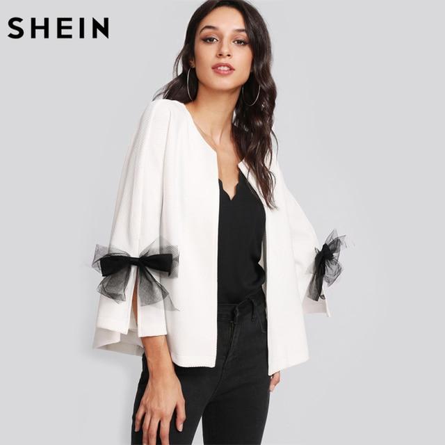 2349bf25df SHEIN Girls Elegant Coat Blazer Women Bow Slit Bell Sleeve Textured Blazer  White Three Quarter Length