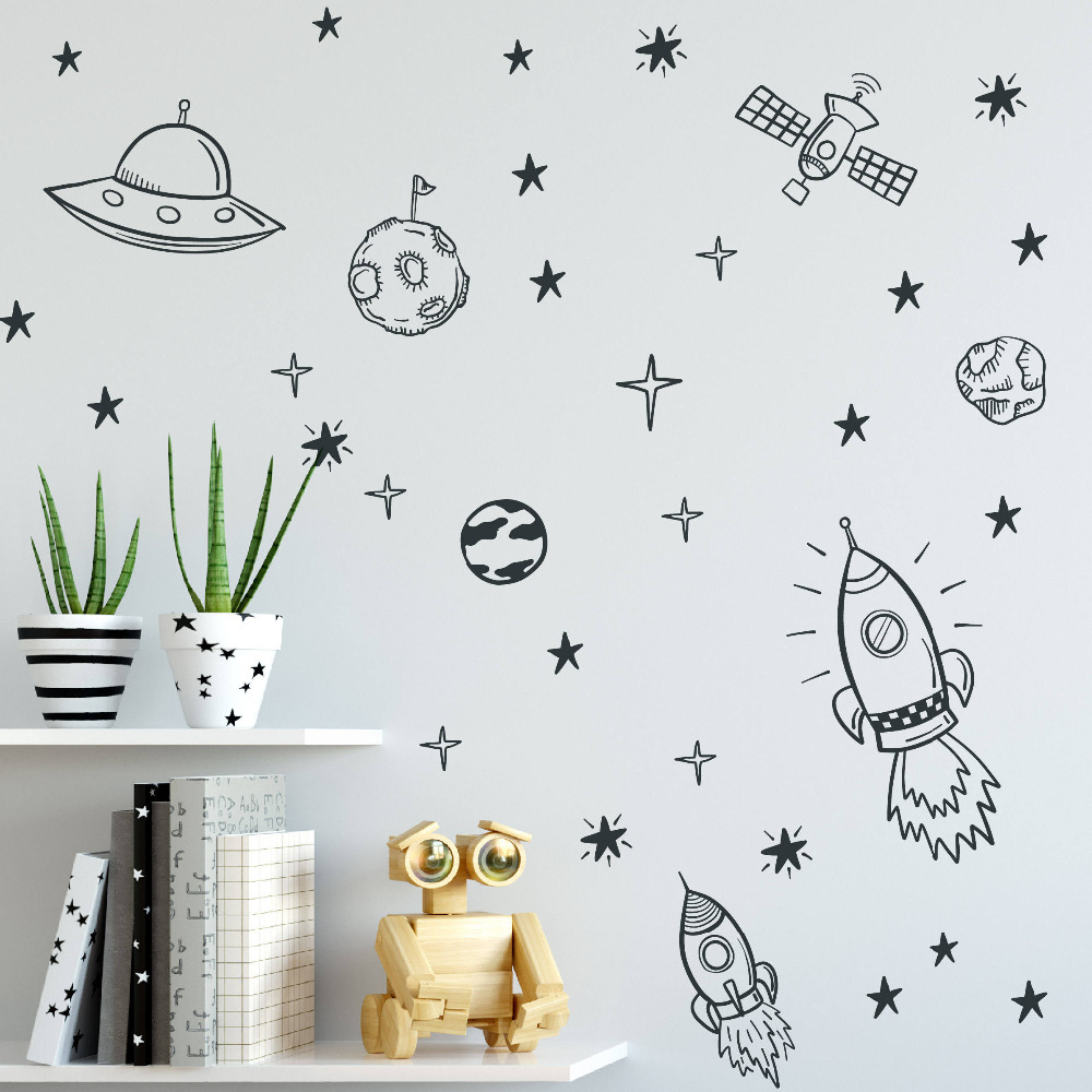 Space Wall Decals For Boy Room Outer Space Nursery Wall Sticker Decor Rocket Ship Astronaut Vinyl Decal Planet Decor Kids ZB163