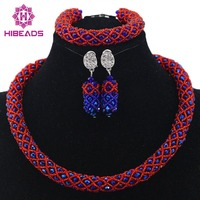 Women 2017 Crystal Flower Necklace Sets Fashion Vintage Jewelry Turkish Nigerian Red Bead Necklace Set Free Shipping HX635
