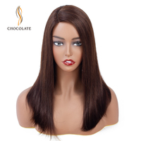 CHOCOLATE Handmade Lace Hairline Human Hair Wigs Straight Wig Non Remy Brazilian Bob Short Wigs For Black Women wig